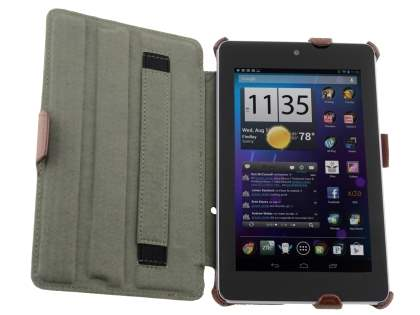 Synthetic Leather Flip Case with Multi-Angle Tilt Stand for Asus Google Nexus 7 2012 - Brown