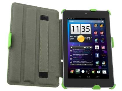 Premium Asus Google Nexus 7 2012 Slim Synthetic Leather Flip Case with Multi-Angle Tilt Stand - Green