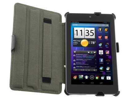 Premium Asus Google Nexus 7 2012 Slim Synthetic Leather Flip Case with Multi-Angle Tilt Stand - Black