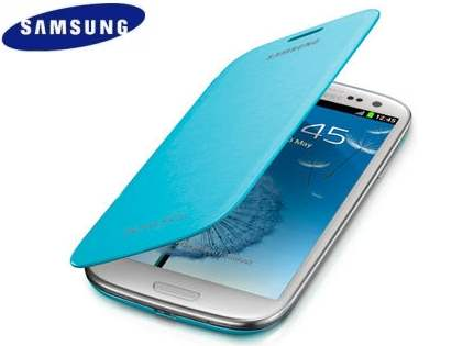 Genuine Samsung Flip Cover for Samsung I9300 Galaxy S3 - Light Blue Leather Case
