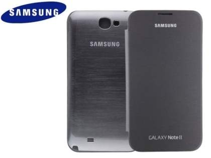 Genuine Samsung Flip Cover for Samsung Galaxy Note II - Silver