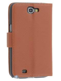 Premium Synthetic Leather Flip Case with Stand for Samsung Galaxy Note II N7100 - Brown Leather Flip Case
