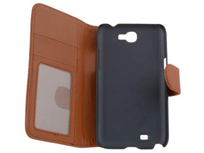 Premium Synthetic Leather Flip Case with Stand for Samsung Galaxy Note II N7100 - Brown