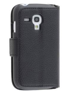 Synthetic Leather Wallet Case with Stand for Samsung I8190 Galaxy S3 mini - Black Leather Wallet Case