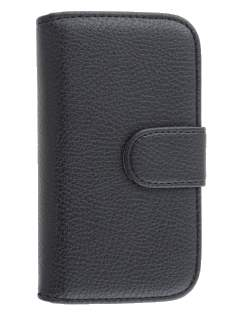 Synthetic Leather Wallet Case with Stand for Samsung I8190 Galaxy S3 mini - Black
