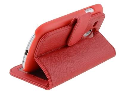 Synthetic Leather Wallet Case with Stand for Samsung I8190 Galaxy S3 mini - Red