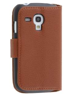 Synthetic Leather Wallet Case with Stand for Samsung I8190 Galaxy S3 mini - Brown Leather Wallet Case