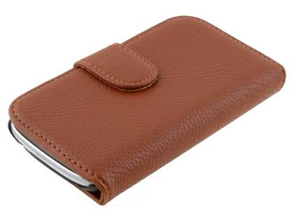 Synthetic Leather Wallet Case with Stand for Samsung I8190 Galaxy S3 mini - Brown