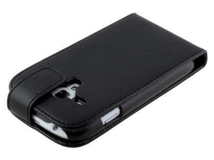 Samsung Galaxy S3 Mini Synthetic Leather Flip Case - Black