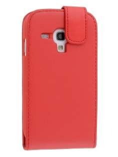 Synthetic Leather Flip Case for Samsung Galaxy S3 Mini - Red Leather Flip Case