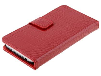 TS-CASE crocodile pattern Genuine leather Wallet Case for Samsung Galaxy S4 I9500 - Red