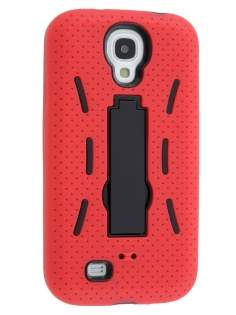 Defender Case with Stand for Samsung Galaxy S4 I9500 - Red/Black Impact Case
