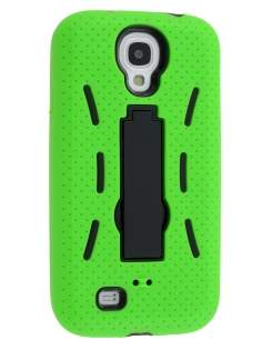 Defender Case with Stand for Samsung Galaxy S4 I9500 - Lime Green/Black Impact Case
