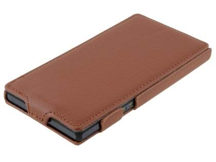 Sony Xperia Z Slim Synthetic Leather Flip Case - Brown