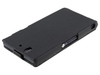 Synthetic Leather Flip Case for Sony Xperia Z - Classic Black