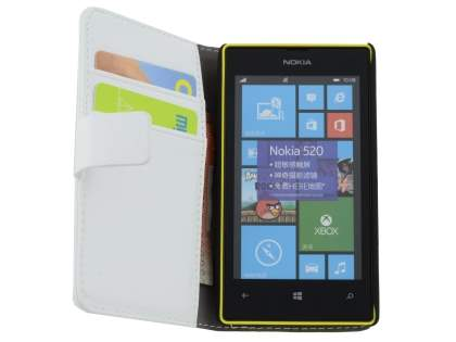 Nokia Lumia 520 Synthetic Leather Wallet Case with Stand - Pearl White