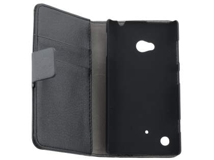 Nokia Lumia 720 Synthetic Leather Wallet Case with Stand - Classic Black