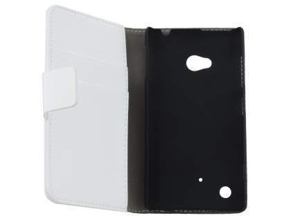 Nokia Lumia 720 Synthetic Leather Wallet Case with Stand - Pearl White