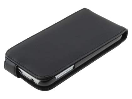 Genuine Leather Flip Case for Samsung Galaxy S4 I9500 - Classic Black