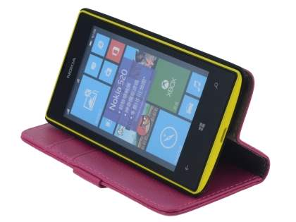 Nokia Lumia 520 Synthetic Leather Wallet Case with Stand - Pink