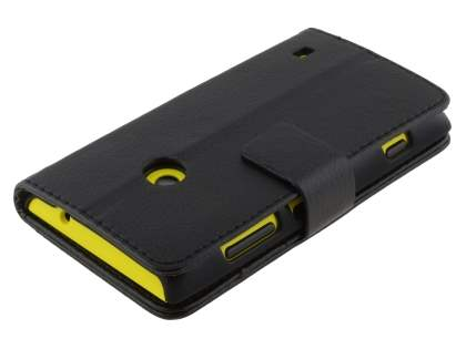 Nokia Lumia 520 Synthetic Leather Wallet Case with Stand - Classic Black