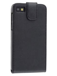BlackBerry Z10 Synthetic Leather Flip Case - Classic Black Leather Flip Case