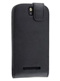 HTC One SV Synthetic Leather Flip Case - Classic Black