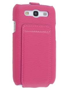 Slim Genuine Leather Flip Case for Samsung I9300 Galaxy S3 - Pink Leather Flip Case