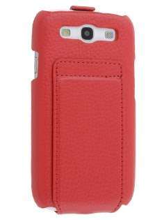 Slim Genuine Leather Flip Case for Samsung I9300 Galaxy S3 - Red Leather Flip Case