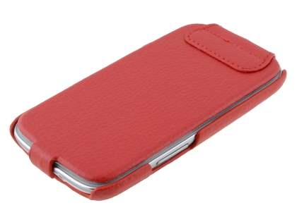 Slim Genuine Leather Flip Case for Samsung I9300 Galaxy S3 - Red