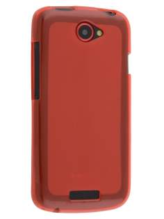 Frosted TPU Case for HTC One S - Frosted Red/Red Soft Cover