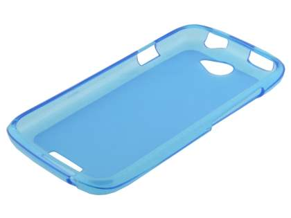 Frosted TPU Case for HTC One S - Frosted Blue/Blue