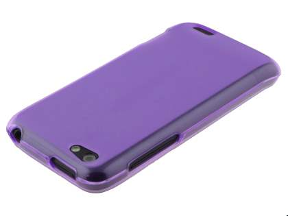 HTC One V Frosted TPU Gel Case - Frosted Purple/Purple