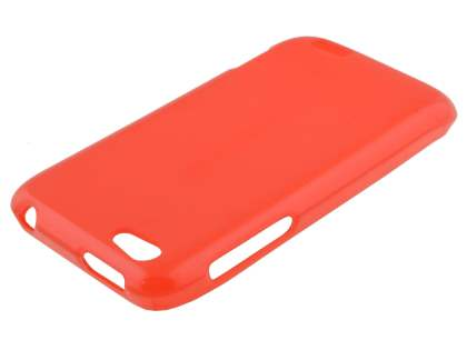 Frosted TPU Gel Case for HTC One V - Frosted Red/Red