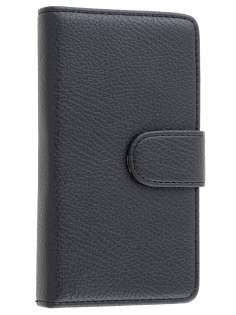 Nokia Lumia 810 Slim Synthetic Leather Wallet Case with Stand - Classic Black Leather Wallet Case