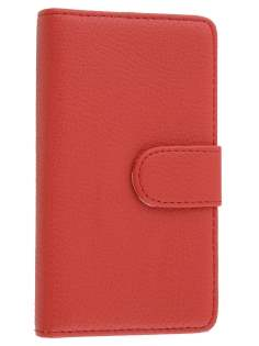 Nokia Lumia 810 Slim Synthetic Leather Wallet Case with Stand - Red Leather Wallet Case