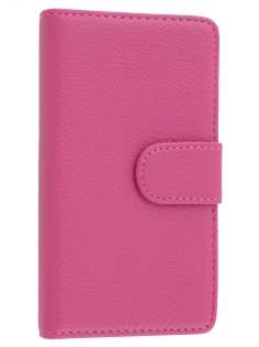 Nokia Lumia 810 Slim Synthetic Leather Wallet Case with Stand - Pink Leather Wallet Case