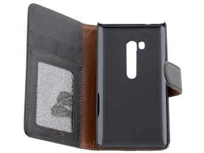 Nokia Lumia 810 Slim Synthetic Leather Wallet Case with Stand - Classic Black