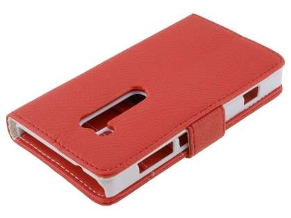 Nokia Lumia 810 Slim Synthetic Leather Wallet Case with Stand - Red