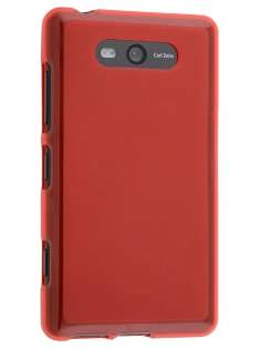 Frosted TPU Case for Nokia Lumia 820 - Red Soft Cover
