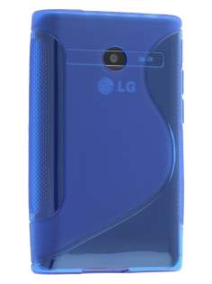 Wave Case for LG Optimus L3 E400/L2 E405 - Frosted Blue/Blue Soft Cover