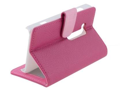 Nokia Lumia 810 Slim Synthetic Leather Wallet Case with Stand - Pink
