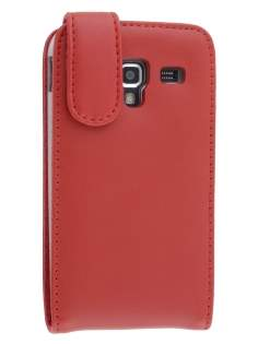 Genuine Leather Flip Case for Samsung Galaxy Ace 2 I8160 - Red Leather Flip Case