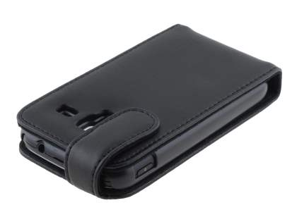 Samsung Galaxy Ace 2 I8160 Genuine Leather Flip Case - Classic Black