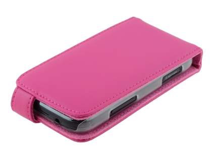 Genuine Leather Flip Case for Samsung Galaxy Ace 2 I8160 - Pink