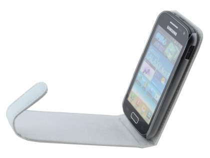 Genuine Leather Flip Case for Samsung Galaxy Ace 2 I8160 - Pearl White