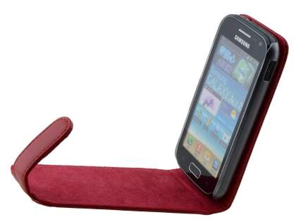 Genuine Leather Flip Case for Samsung Galaxy Ace 2 I8160 - Red
