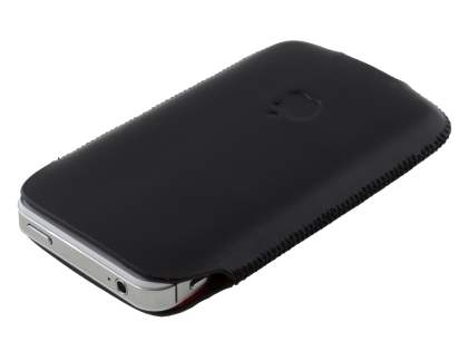 Genuine Leather Slide-in Case for iPhone 4S/4 - Black