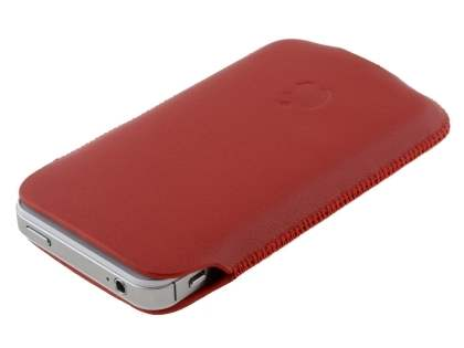 Genuine Leather Slide-in Case for Apple iPhone 4S/4 - Red