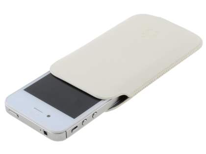 Genuine Leather Slide-in Case for Apple iPhone 4S/4 - White